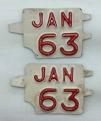 Connecticut 1963 January License Plate Year Tab Pair!