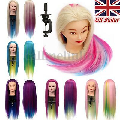 Hairdressing Colorful Long Hair Mannequin Doll Training Practice Head + Clamp UK