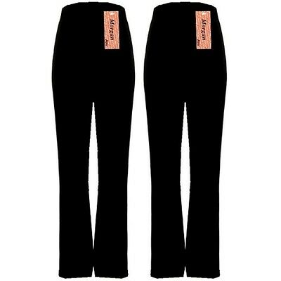 Ladies Pack Of 2 Bootleg Stretch Trousers Black Size 12