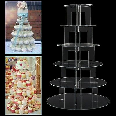 6 Tier Circle Round Acrylic Wedding Cupcake Party Cake Stand Holder Display Rack