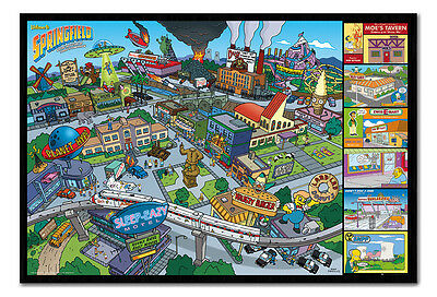 Framed The Simpsons Springfield Locations TV Series Poster New