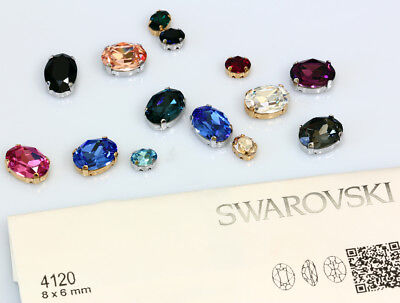 Genuine SWAROVSKI 4120 Oval Crystals with Sew On Metal Settings * Many Colors