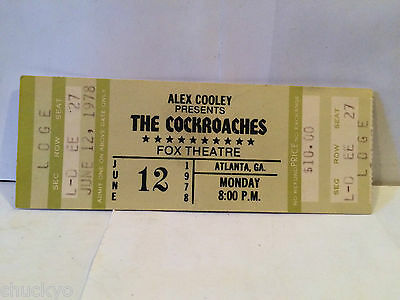 Rolling Stones Ticket Stub - Billed As The Cockroaches 6-20-1978 Fox Theatre
