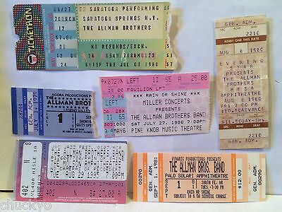 The Allman Brothers Set Of 6 Concert Ticket Stubs