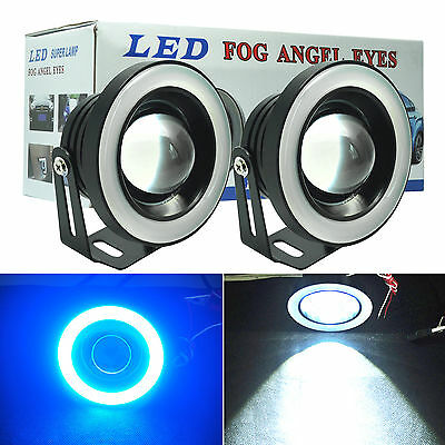 "2.5"" Car 60W LED Projector Fog Lights with Ice Blue LED Tube Halo Angle Eye Ring"