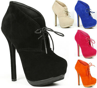 Wholesale 115 Pairs of Faux Suede Lace Up High Heel Platform Fashion Ankle Boot