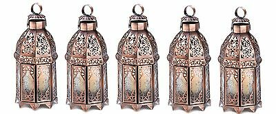 """Copper Moroccan Candle Lantern 9 1/2"""" tall (Set of Five) Wedding Supplies 13366"""