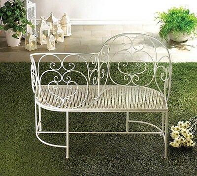 "Romantic White Metal Couple Garden Bench 47"" wide 38"" tall Yard Decor 10015689"
