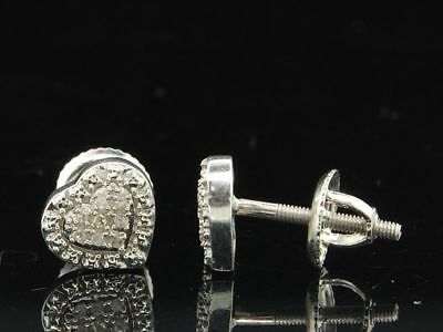 Ladies .925 Sterling Silver Designer Love Heart Diamond Studs Earrings 0.05 Ct.