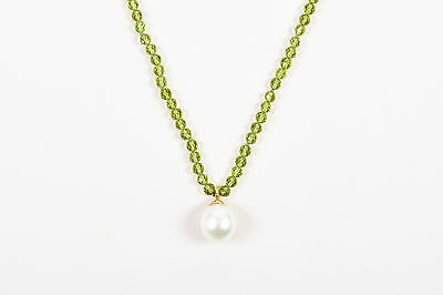 Tiffany & Co. $2500 Green 18K Yellow Gold Pearl Peridot Stone Pendant Necklace