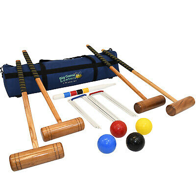 Big Game Hunters 4 Player Croquet Set Full Size Hardwood Mallets and 12oz Balls