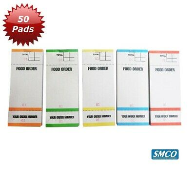 50 ORDER PADS COLOURED Food Bar Takeaway Waiter 100 SHEETS PER PAD BF84 Pad 84