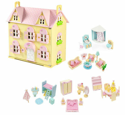 Butterbee Cottage Wooden Dolls House with Furniture Children's Kids Dollhouse