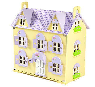 Berrybee Cottage Children's Wooden Dolls House with Curtains and 2 Staircases