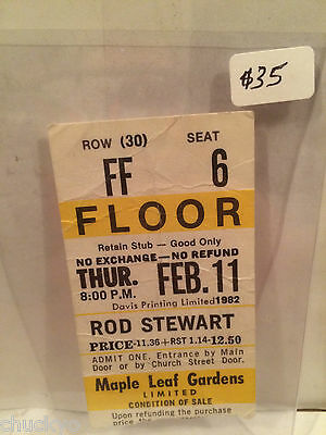 Rod Stewart Concert Ticket Stub 2-11-1982 Toronto Maple Leaf Gardens - Rare