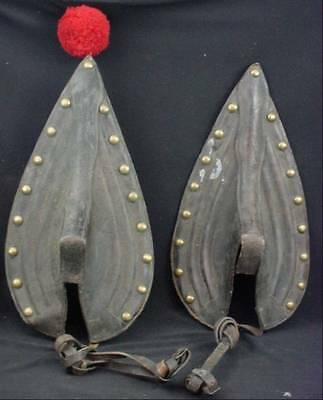 Pair Antique Draft Horse Collar Scotch Tops Brass Studded Tack Parade Harness