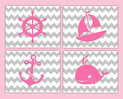 Nautical Nursery Prints Decor Baby Girl Wall Art Chevron Pink Gray Grey Sailboat