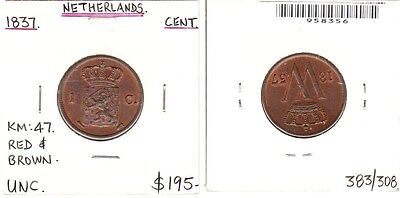 Netherlands - 1837 Cent. KM:47. Red & brown. UNC.