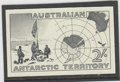 Stamp AAT Antarctic 2/- blue map but in black proof imperforated posthumous type