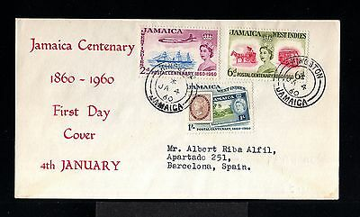 11168-JAMAICA-FIRST DAY COVER KINGSTON to BARCELONA (spain)1960.BRITISH