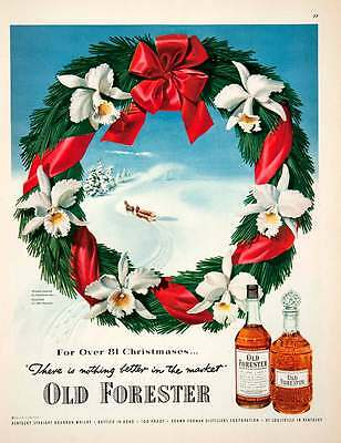 1951 Ad Old Forester Bourbon Whiskey Kentucky Wreath Constance Spry John COLL2