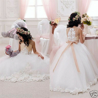 Princess Pageant Communion Bridesmaid Wedding Flower Girl Dress Party Prom Gown.