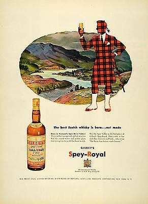 1952 Ad Gilbey Spey-Royal Scotch Whisky King George VI - ORIGINAL ESQ4