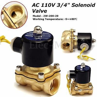 """Brass 12V DC 3/4"""" Electric Solenoid Valve Water AC Air Fuels Gas Normal Closed"""