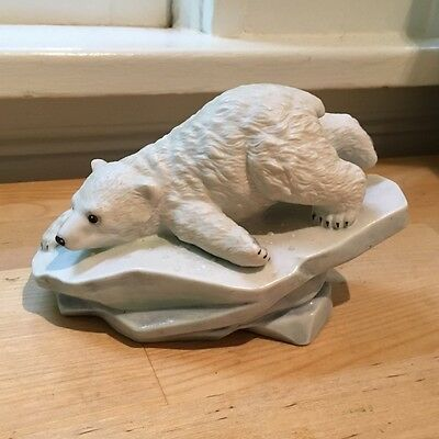 "Porcelain Polar Bear Cub ""Polar Expedition"" Figurine Sculpture Maruri USA P-9003"