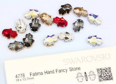 Genuine SWAROVSKI 4778 Fatima Hand Crystals 18x13.7mm with Sew On Metal Settings