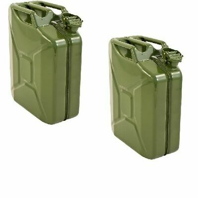 2 X Green Jerry Metal Tin Can 20 L Rust Proof Race/Rally/Camping/Military Fuel