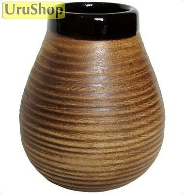 M92 Ceramic Mate Cup For Yerba Mate Natural Shape With Stripes