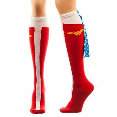 Official DC Comics Retro Style Wonder Woman Caped Boot Knee High Ladies Socks