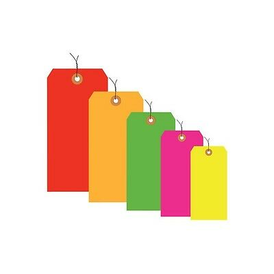 """""""Shipping Tags, Pre-Wired, 13 Pt., 6 1/4""""""""x3 1/8"""""""", Fluorescent Red, 1000/Case"""""""