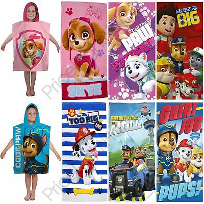 Kids Paw Patrol Beach Towels & Hooded Ponchos Girls Boys Chase Skye Marshall