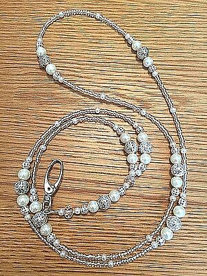 Ivory Pearl Silver Filigree Beaded Lanyard ID Badge/Pass/Card Holder Great gift.