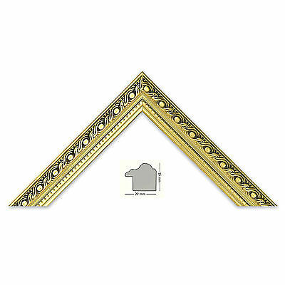 Plastic strip 751 ORO ANTIQUE, gold patterned, gold bar