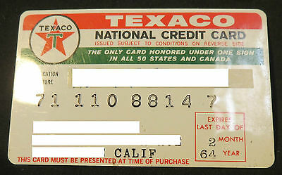 Vintage 1960s Texaco Company National Credit Card Red Green White