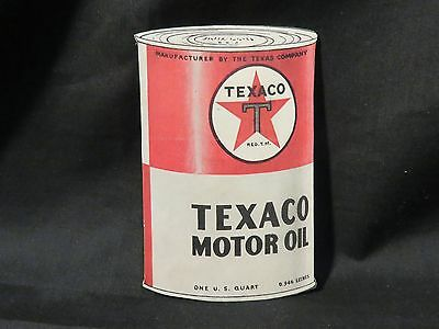 "Vintage Texaco Motor Oil 1qt Can Paper ""Die Cut"" Red White w/Texaco Star"