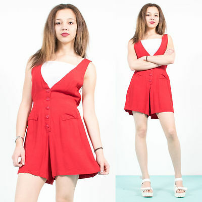 Womens Vintage 90's Bright Red Playsuit Romper Pin Up Rockabilly Style 10