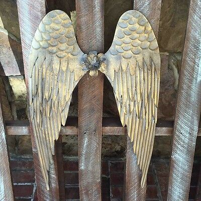 Metal Angel Wings Distressed Gold Vintage Wall Decor Shabby Chic
