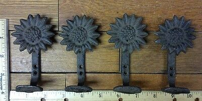 Set Of 4 Rustic SUNFLOWER COAT Wall HOOKS 4x2-1/2 cast iron