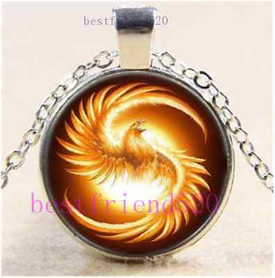 Fire Phoenix Photo Cabochon Glass Dome Silver Chain Pendant Necklace