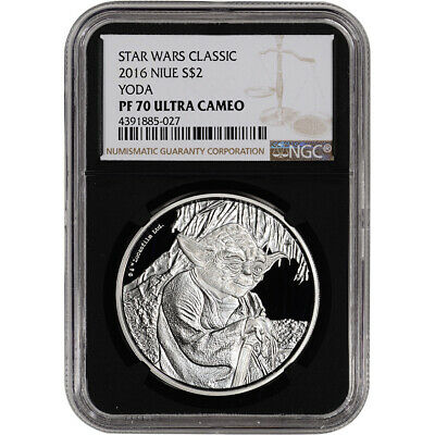 2016 Niue Silver Star Wars Classic - Yoda Proof (1 oz) $2 - NGC PF70 Black Retro