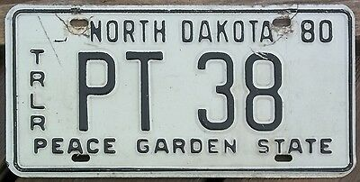 North Dakota 1980 PRORATE TRAILER-  License Plate - Low Number - Last Year!