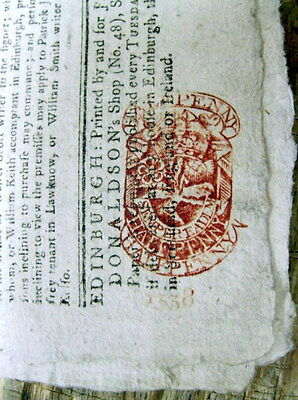 Original 1782 Edinburgh SCOTLAND Revolutionary War newspaper withA RED TAX STAMP