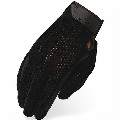 8 Size Heritage Crochet Riding Gloves Horse Equestrian Black