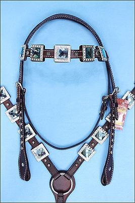 Hilason Western Leather Horse Headstall Breast Collar Brown Blue Bling Concho