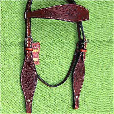 Hilason Western Leather Horse Bridle Headstall Mahogany Floral Carved