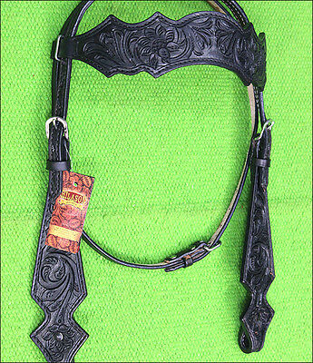 Hilason Western Leather Horse Bridle Headstall Black Hand Carved